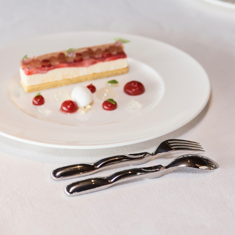 Dessert with fork and spoon MCailloux